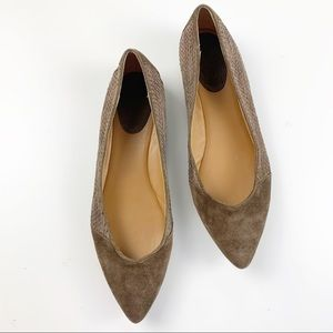Trask Ria Brown Suede Pointed Flats